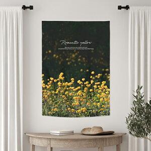 タペストリー ロマンティックイエロー 85x120cm ポスターのれん 北欧 かわいい おしゃれ 飾り ボタニカル さくら ピンク 壁掛け 壁 木 花 ヒーリング サンサンフー