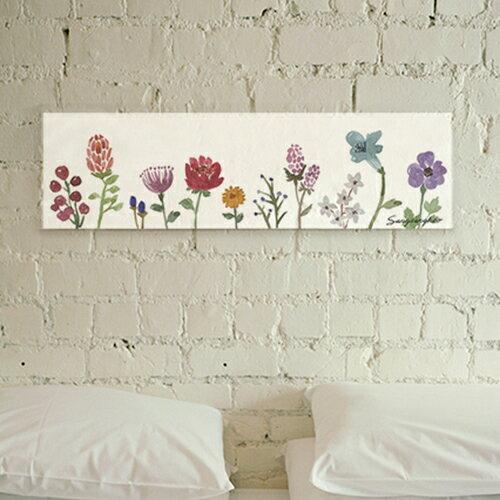 ファブリックパネル 【プチガーデン85x25】お部屋を華やかに彩るお花のデザインがおしゃれ!インテリア アート パネル 北欧 正方形 グリーン おしゃれ ファブリックボード 木製 ウォールデコ キャンバス サンサンフー