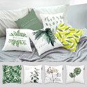 クッションカバー 植物 グリーン シンプル ホワイト モダン かわいい シック 45X45 COVER 北欧 45cm 洗える おしゃれ クッションケース…