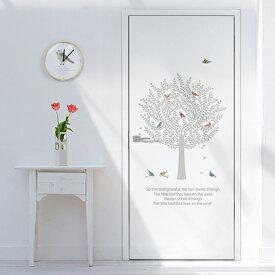 ドアシート ドア用壁紙 ドアシール クロス 玄関 ドア に 貼る シート シール のり付き インテリア ドアリフォーム ステッカー 【バードツリー[0492400]】