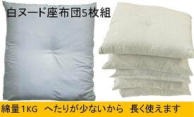 【5枚組】 白 ヌード 座布団 ヌード座布団 55×59cm ホワイト 白 5枚組 中綿 たっぷり 1kg 入り ふっくら ボリューム 1kg座布団 へたりの少ない