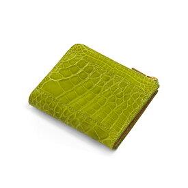 【クーポン付】クロコダイル 財布 レディース 本革 ヘンローン社製原皮使用 L字ファスナー シャイニング加工 バイカラー ライム 緑 送料無料 大切なあの人の贈り物や自分のご褒美に最適 クロコダイルを使用したL字ファスナー型ミニ 財布 ギフト (No.06000137-zz-limr)