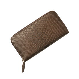 9bb9dc512a1c パイソン 長財布 ラウンド ファスナー/レディース ダークブラウン 茶色ダイヤ型の斑紋が連続