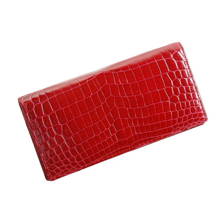 クロコダイル 無双 長財布 シャイニング加工 センター取り/メンズ/レディース カラー:ライトレッド[レッド(赤色)]