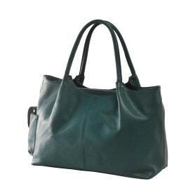 Jamale ブランド 日本製 牛革バッグ ハンドバッグ 2way レディース 本革 ビリジアングリーン 緑ショルダーベルト付きで斜め掛けもOK A4サイズが入る使いやすい本革バッグ (No.7346)リアルレザー 送