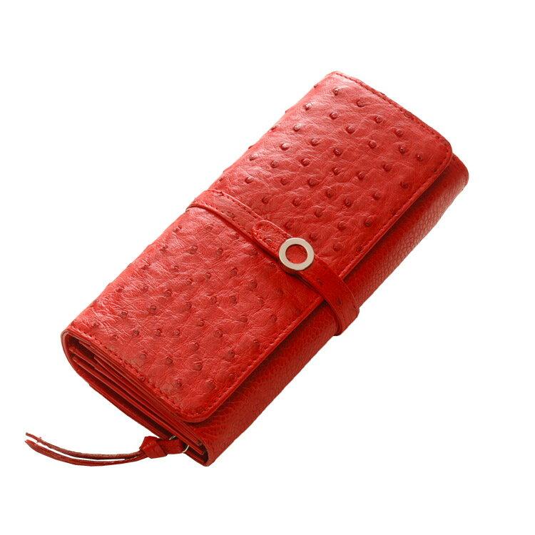 レディース 財布 多機能 ワンランク上 の オーストリッチ ラウンドファスナー レザーウォレット 大人気 プレゼント 本革 LEATHER WALLE 長財布 レディース レッド 赤