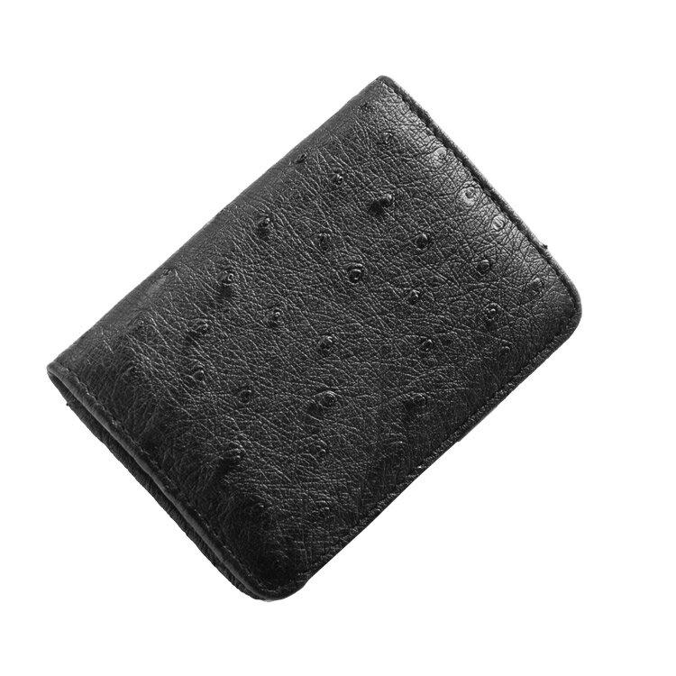 【ゆうパケットで送料無料】 オーストリッチ ボックス型 小銭入れ 財布 メンズ レディース 本革 コインケース ★ ブラック 黒