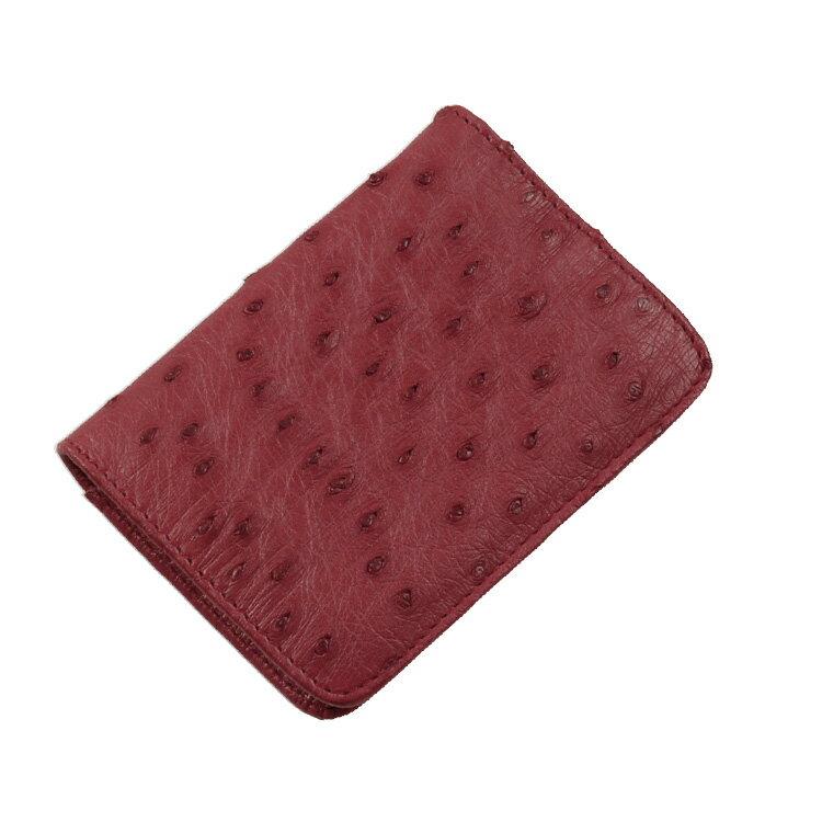 【ゆうパケットで送料無料】 オーストリッチ ボックス型 小銭入れ 財布 メンズ レディース 本革 コインケース ★ カンパリ 赤