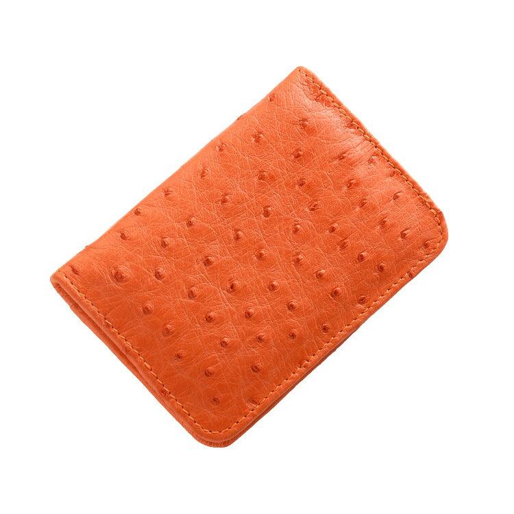 【ゆうパケットで送料無料】 オーストリッチ ボックス型 小銭入れ 財布 メンズ レディース 本革 コインケース ★ オレンジ 黄色