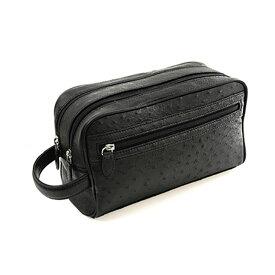 メンズ バッグ オーストリッチ Wファスナーセカンドメンズバッグ ブラック 黒 ギフト (No.9509-zz-blkr)