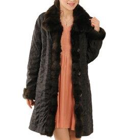 シルク 100% & ロシアンリス リバーシブル コート セーブル トリミング 毛皮 フリー ダークブラウン 茶色 秋 冬 ギフト
