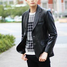 メンズ ラム レザー テーラード ジャケット 2つボタン (05000028r) XL ブラック 黒 大人のカジュアルデザインの最高峰 ラム革を使用した テーラードジャケットをお洒落に着こなす ギフト (No.05000028-zz-xl-blkr)