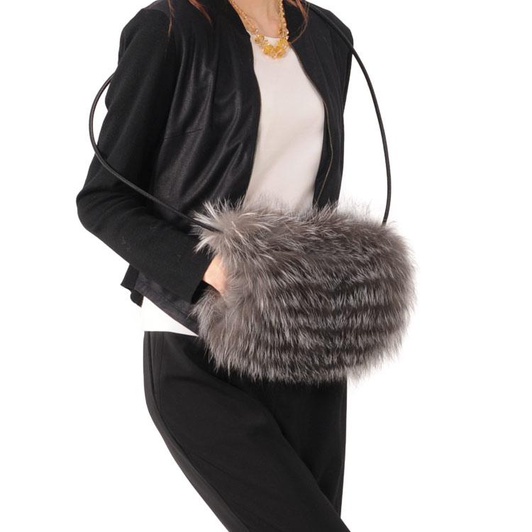 フォックス ファー バッグ & マフ 毛皮 ファー シルバーフォックス 灰色 鼠色