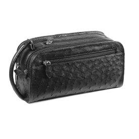 オーストリッチ セカンド バッグ Wファスナー/メンズ ブラック 黒 セカンドバッグ 紳士 ギフト (No.9955-zz-bl2r)