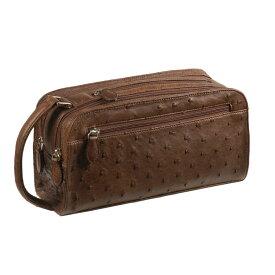 オーストリッチ セカンド バッグ Wファスナー/メンズ カンゴ 茶色 セカンドバッグ 紳士 ギフト (No.9955-zz-kngr)