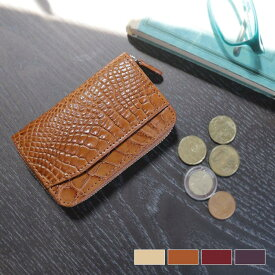 クロコダイル ラウンドファスナー 小銭入れ マット加工 メンズ 全8色 仕切り付き カードが入る ワニ革 春財布 サイフ 誕生日 ギフト 父の日 プレゼント 以外