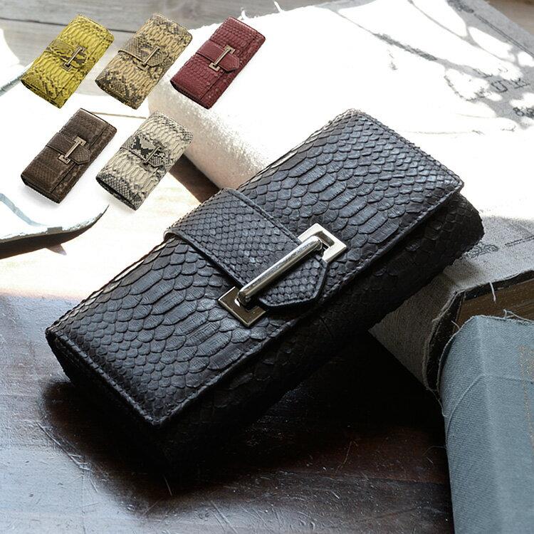 ダイヤモンド パイソン メンズ 長財布 ベルト デザイン (No.7191-mens-1) 多機能 財布 ウォレット 蛇革 財布 じゃばら 軽い プレゼント 本革 プレゼント