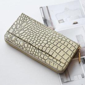 イタリア製牛革 長財布 メンズ クロコダイル 型押し 真鍮 ラウンドファスナー オーク ボルドー ダークブラウン ブラック 誕生日 プレゼント ギフト