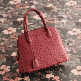 オーストリッチ ハンドバッグ フルポイント 2WAY 仕様 レディース 本革 バッグ 軽量 全11色 ギフト 母 女性 プレゼント