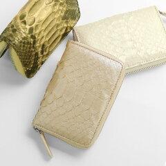 ダイヤモンドパイソン小銭入れレディースラウンドファスナーコインケース一枚革内装本革(No.06000899)