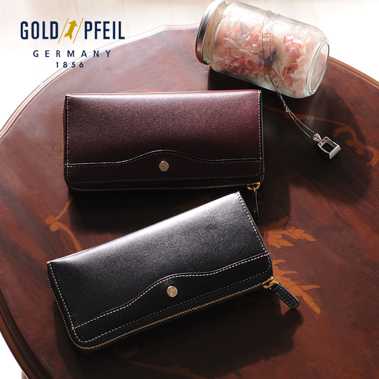 GOLD PFEIL/ゴールドファイル 牛革 L字ファスナー 長財布 レディース バーガンディ/ブラック送料無料