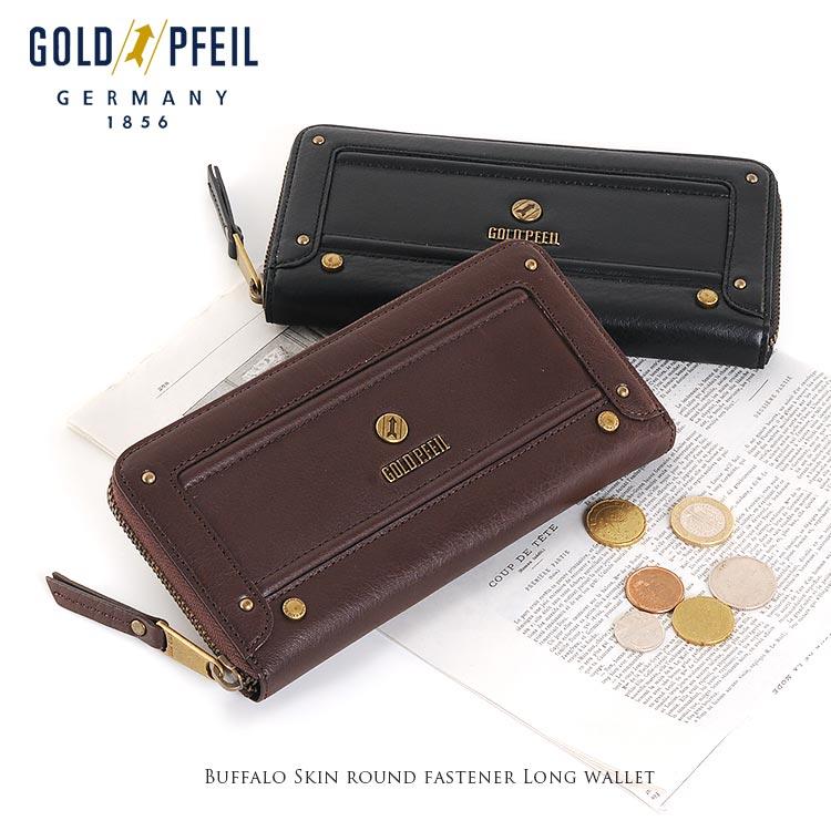 GOLD PFEIL ゴールドファイルバッファロー 革 ラウンドファスナー 長財布 レディース送料無料