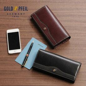 GOLD PFEIL ゴールドファイル 牛革 長財布 かぶせ付き メンズ バーガンディ ブラック フラップ 春財布 サイフ 誕生日 ギフト 父の日 プレゼント 以外 ブランド
