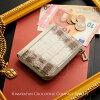 ヒマラヤクロコダイルL字ファスナーコンパクト財布ヘンローン社製原皮使用レディース