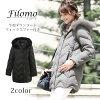 Filomo[フィローモ]ダウンコートフォックスファーフード付きレディース冬ライトグレー/ブラック