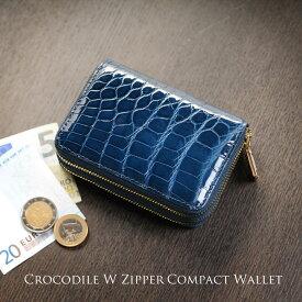クロコダイル Wファスナー コンパクト財布 メンズ ラウンドファスナー ミニ財布 シャイニング加工 ヘンローン 全11色 キャッシュレス ゴールド金具 本革 小さい財布 ギフト 普段使い 父の日 (06001055-3-mens-1r)