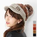 ニット帽 レディース ボンボン つば付き ポンポン キャスケット イタリア製糸使用 カラフル 全5色 秋冬 帽子 ギフト …