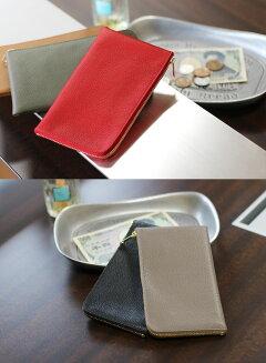 財布レディースミニ財布コンパクト長財布Jamale日本製シュリンクレザーレッドオークブラック