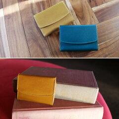 ベージュキャメルブルー小さい財布レディース