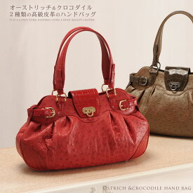 フルポイント オーストリッチ & クロコダイル バッグ ハンドバッグ/レディース 鞄 オーストリッチ バッグ バッグ ワニ革 ギフト プレゼント