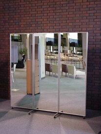 【日本製】[送料無料 税込]キャスター付大型鏡三面鏡姿見ムーミー大 シルバー 木目