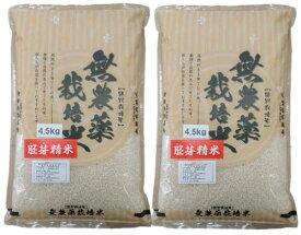 2年産・無農薬胚芽米4.5kg×2袋--無農薬無化学肥料栽培--石川県産こしひかり【税込・送料込み価格】