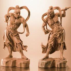 欅一杢彫り「金剛力士像」二尊一組