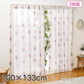 ハローキティ レースカーテン2枚組(ローズ)100×133cm