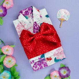 ハローキティ 浴衣と結び帯のセット(紫陽花)