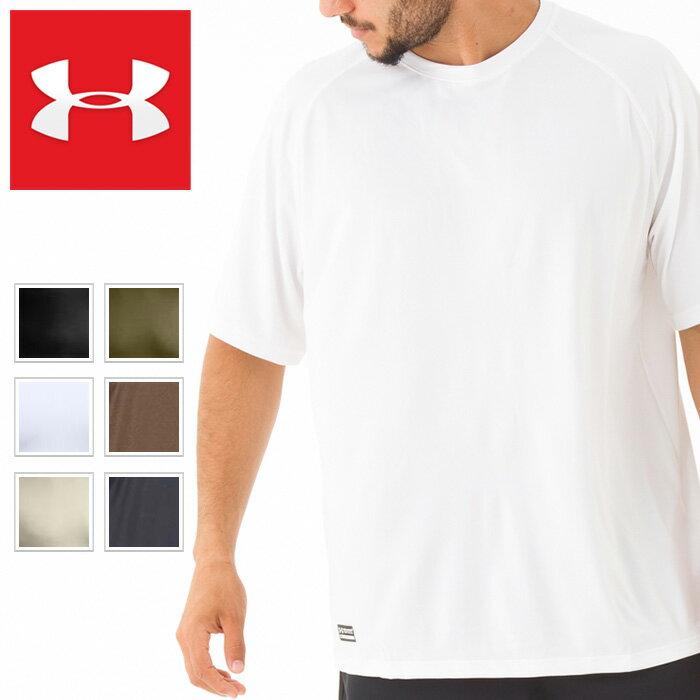 アンダーアーマー Tシャツ メンズ 半袖 無地 ヒートギア ブラック ホワイト UNDER ARMOUR HEAT GEAR Tactical Tech Short Sleeve T-Shirt 1005684