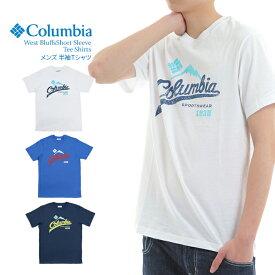 【大感謝祭セール開催中】コロンビア Tシャツ メンズ グラフィック プリント ネイビー ホワイト ブルー Columbia WEST BLUFFS SHORT SLEEVE TEE SHIRTS*