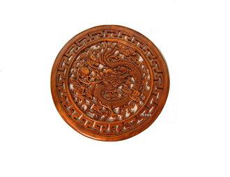 48cm木製飛龍掛飾 モクセイヒリュウカショク 両面塗装 装飾品 内装 本場 飾り 中華 木製  GR4848 φ480*H15
