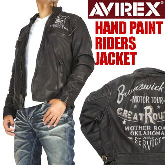 AVIREX ( avirex ) HAND PAINT RIDERS JACKET - ハンドペイントライダースジャケット / leather jacket - 6121009