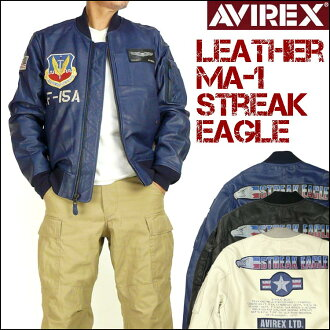 "AVIREX(abirekkusu)LEATHER MA-1/STREAK EAGLE-皮革MA-1/罢工泄漏鹰-""40周年纪念型号""6151098"