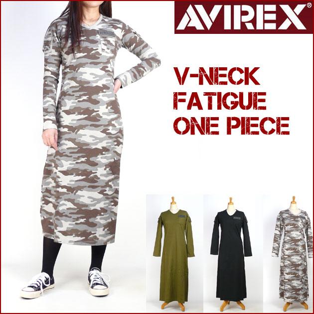 AVIREX Lady's (アビレックス) V-NECK FATIGUE ONE PIECE 長袖 Vネック ファティーグ ワンピース レディース 6263222 【送料無料】 lp-sp プレゼント ギフト