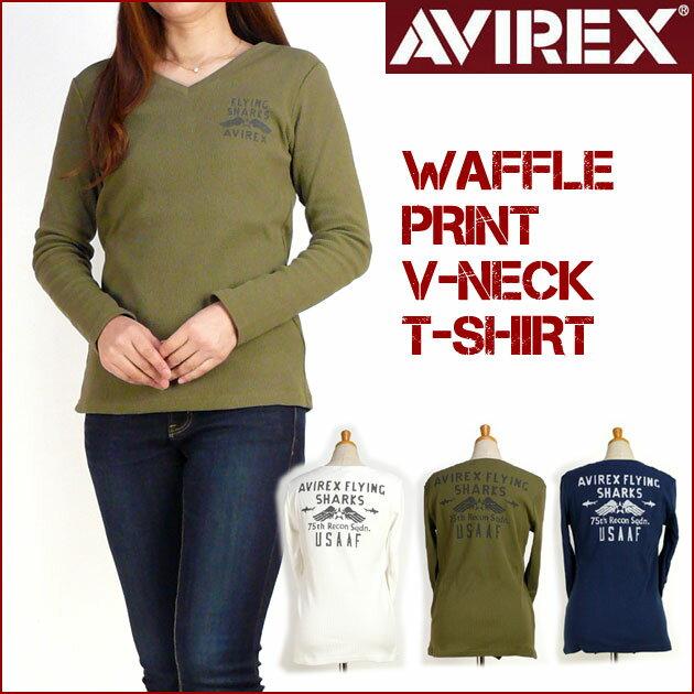 AVIREX アビレックス レディース Tシャツ ワッフル プリント VネックTシャツ FLYING SHARKS 6273132