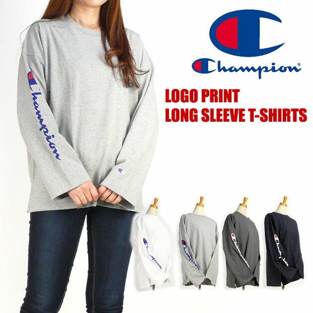 セール Champion チャンピオン レディース Tシャツ ロゴプリント オフショルダー 長袖Tシャツ C3-L415