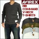 AVIREX (アビレックス) RIB COMMAND V-NECK T-SHIRTS -リブ コマンド Vネック Tシャツ/長袖Tシャツ- 6163484 【送料無…