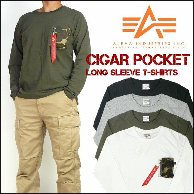 セール ALPHA アルファ メンズ Tシャツ シガーポケット 長袖Tシャツ TC1206