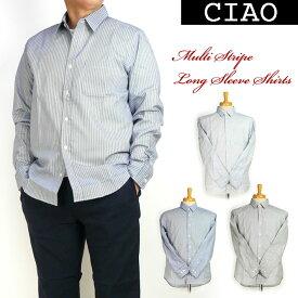 ciao チャオ メンズ シャツ マルチストライプ 長袖シャツ 日本製 28-200
